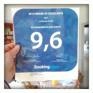 photo du prix d'excellence 2014, meilleurs commentaires clients sur booking.com